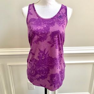 Adidas Climalite purple floral athletic top size M